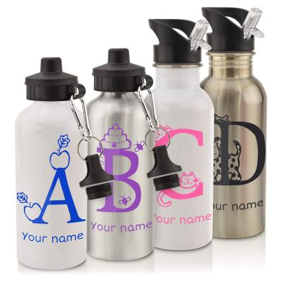 School Water Bottles with Alphabet Letter and Name
