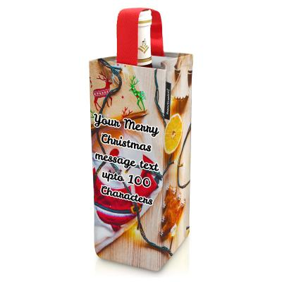 Christmas Wine Gift Bag with Personalised Text