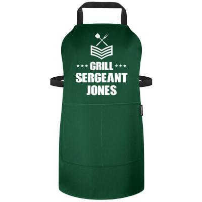 Funny Personalised Apron Grill Sergeant Polycotton Fabric Personalised with Text
