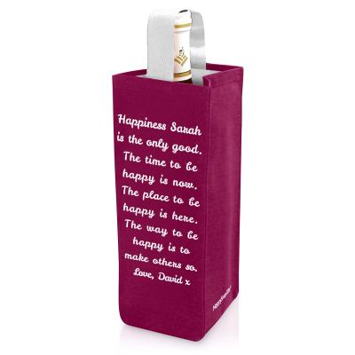 Personalised Wine Bottle Bag Regular Mock Suede Polyester Fabric Personalised with Text