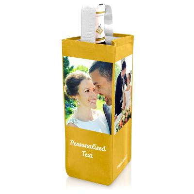 Wine Gift Bag with Photo Upload in Gold Personalised with Text