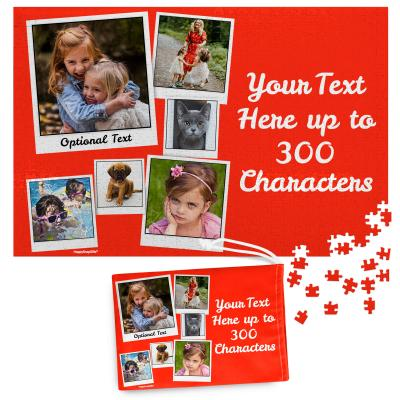 768 Pieces (Polaroid Style Photo Print) - Red    (Personalised with Text) & Matching Drawstring Gift Bag