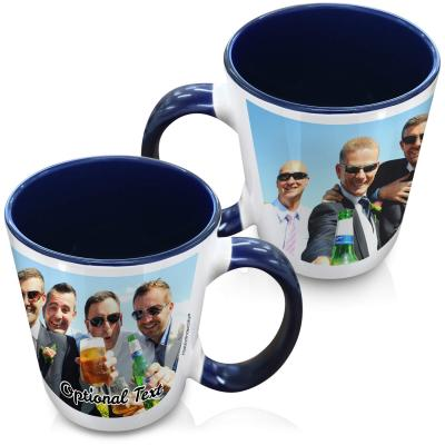 (XL 15oz Blue)  with 1 Wrapped Around Image (Personalised with Text)